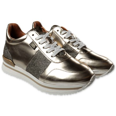 Karl Lagerfeld golden leather sneakers with laces