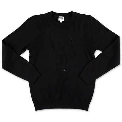 Karl Lagerfeld black cotton blend knit jumper