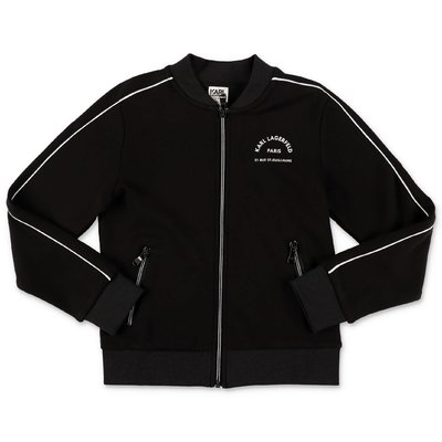 Karl Lagerfeld felpa nera in cotone con logo