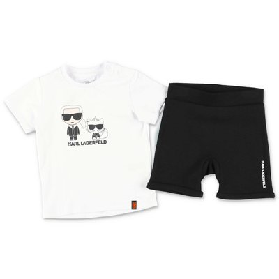 Karl Lagerfeld cotton set with white t-shirt and black shorts