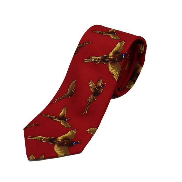 Flying Pheasants On Red  Ground Country Silk Tie