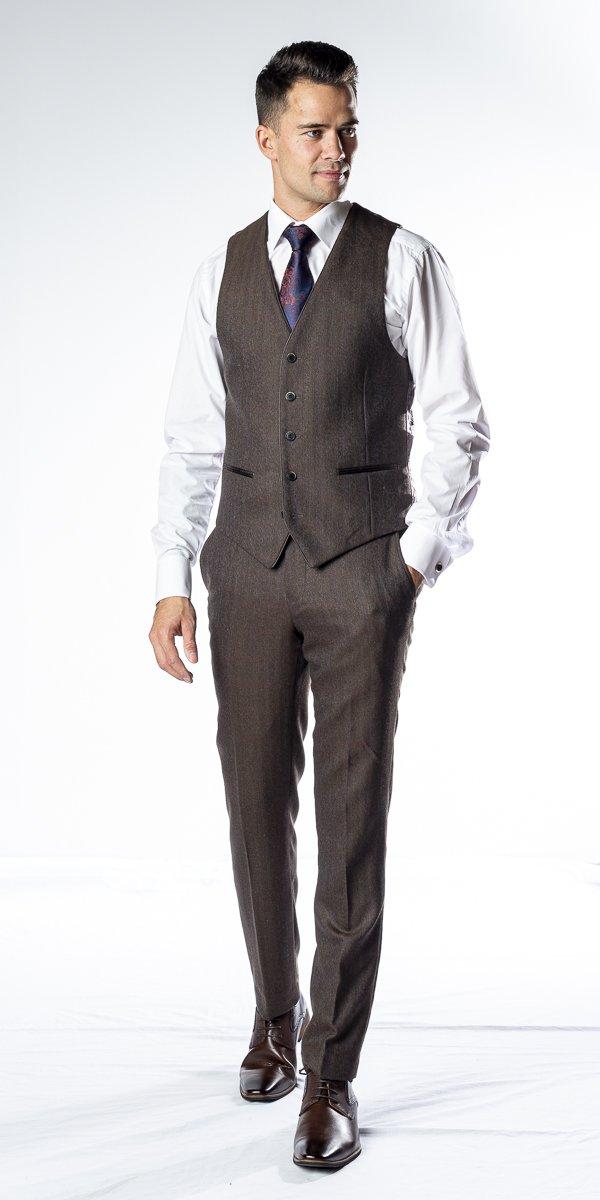Le gilet en tweed brun Collins