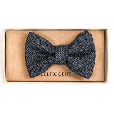 Irish Cloud and Slate Grey Herringbone Bow tie - Grey