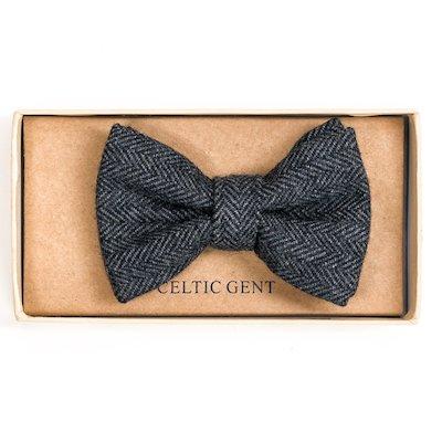 Irish Cloud and Slate Grey Herringbone Bow tie