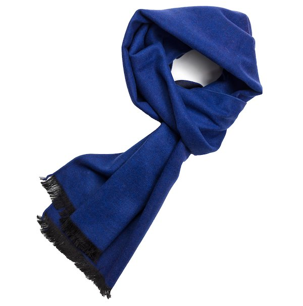 Blue Black Reversible Silk Scarf