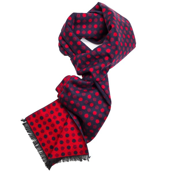 Navy and REd pattern silk scarf.