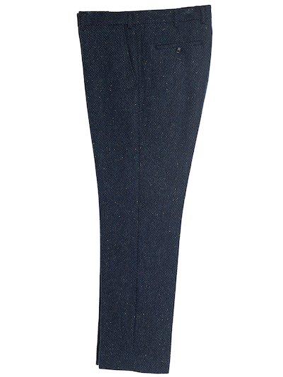 Blue Herringbone trousers. - Blue
