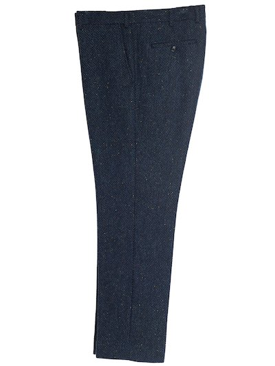 Blue Herringbone Irish Tweed Trousers - Blue