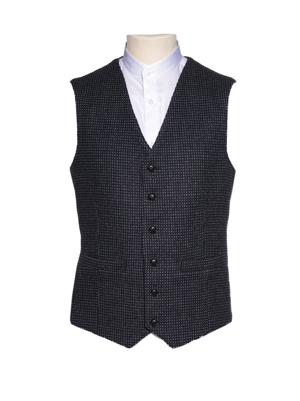 Mens Tweed Black with Grey Check Pattern Waistcoat