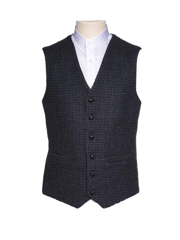 Gilet en tweed noir avec motif à carreaux gris pour hommes
