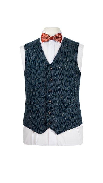 WB Yeats tweed waistcoat - Blue
