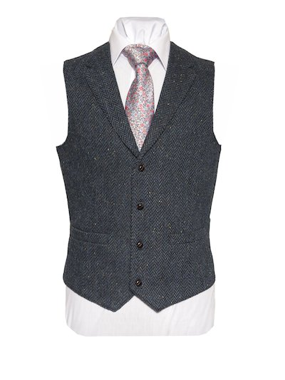 WB Yeats tweed waistcoat with collar - Blue