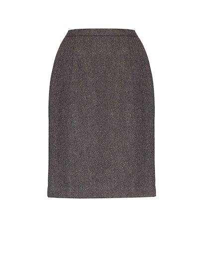 Jupe en tweed marron longueur genoux