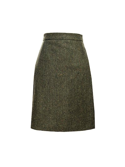Green Knee Length Tweed  Skirt