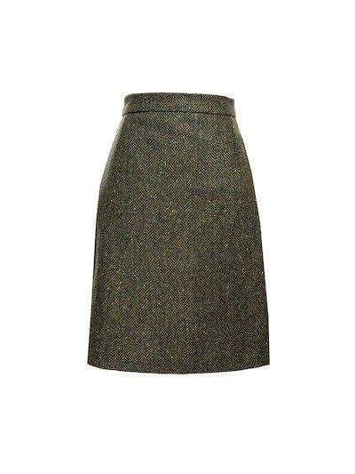 Green Knee Length Tweed  Skirt - Green