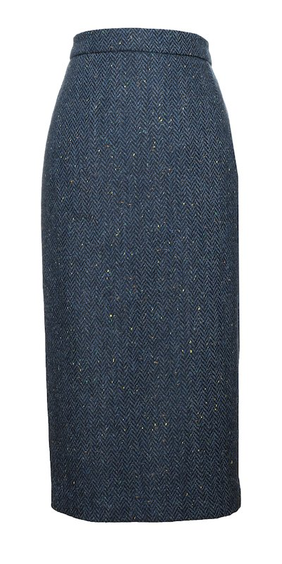 Blue Herringbone Calf Length Skirt