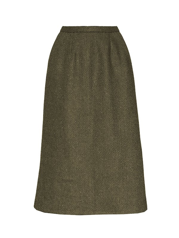 Green Calf Length Skirt