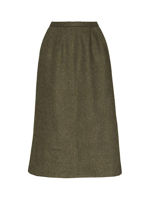 Green Calf Length Skirt