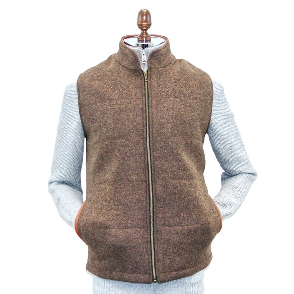 Burns Barleycorn Brown Body Warmer and Gilet with Leather Trims - Medium Brown