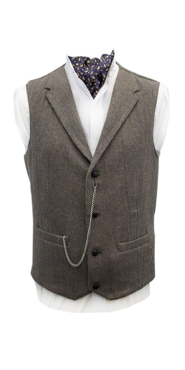 Byrne Beige Tweed Waistcoat with Revere - Beige