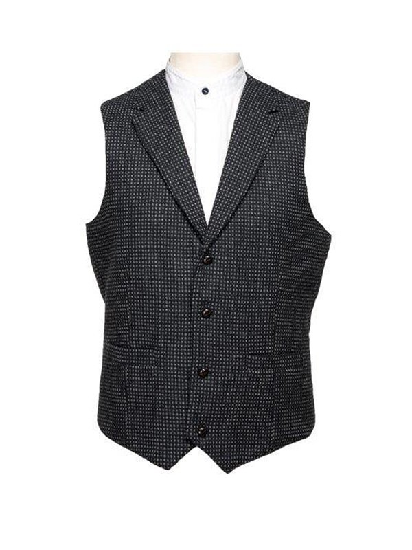 Black with Grey Check Pattern Waistcoat With Revere - Black