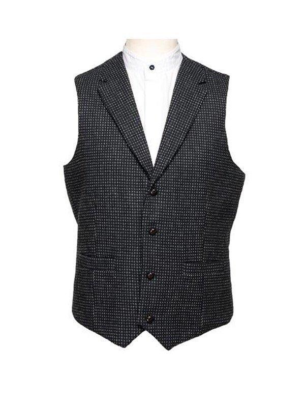 Gilet noir avec motif à carreaux gris avec Revere