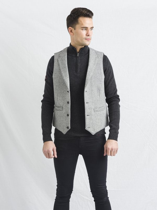 Light Grey Tweed Waistcoat With Revere