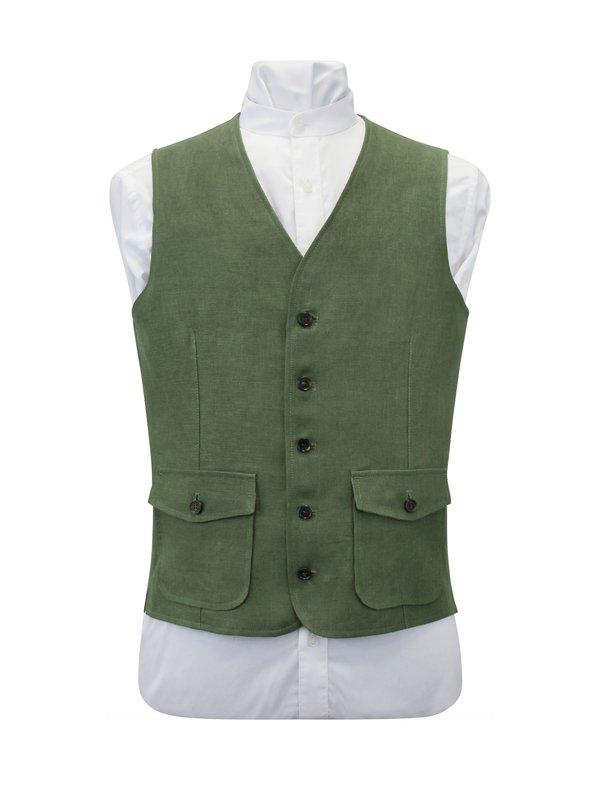 Green Linen Waistcoat