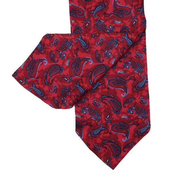 Gents Red Silk Cravat with Paisley