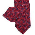 Cravate en soie rouge à motif cachemire pour hommes