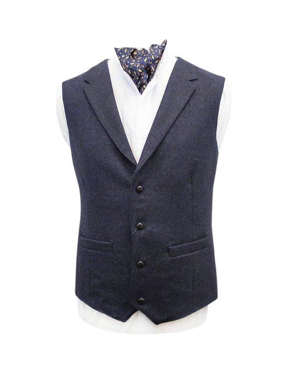 Ryan Navy Tweed Waistcoat with Revere
