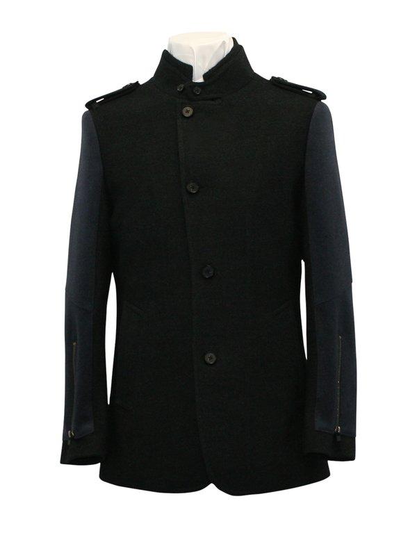 Men's Green Wool Coat - Green