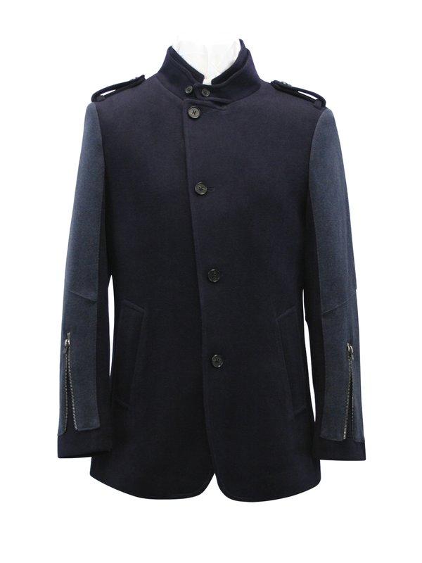 Men's Navy Wool Coat - Navy