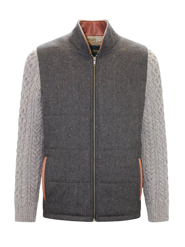 Brown Shackleton Jacket with Rocky Road Cable Knit Sleeve