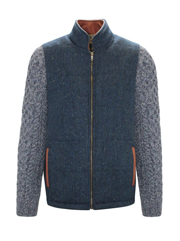 Blue Shackleton Jacket with Navy Marl Cable Knit Sleeve