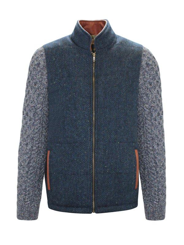 Veste Shackleton bleue avec manches en tricot torsadé bleu marine
