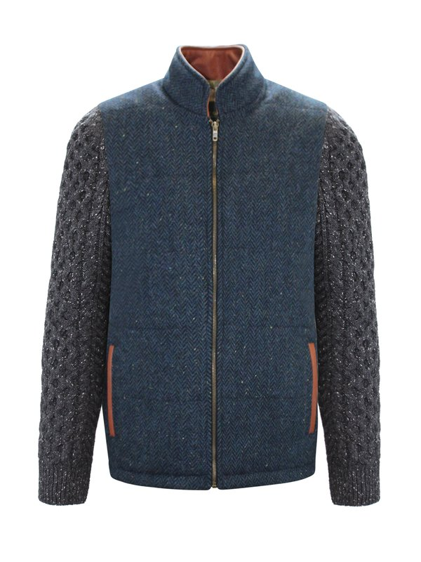 Blue Herringbone Shackleton Jacket with Charcoal Cable Knit Sleeve