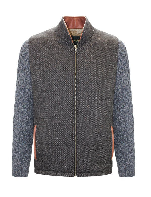 Brown Shackleton Jacket with Navy Marl Cable Knit Sleeve