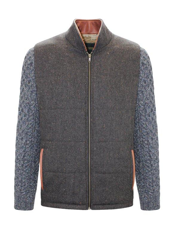 Veste Shackleton marron avec manche en tricot torsadé bleu marine