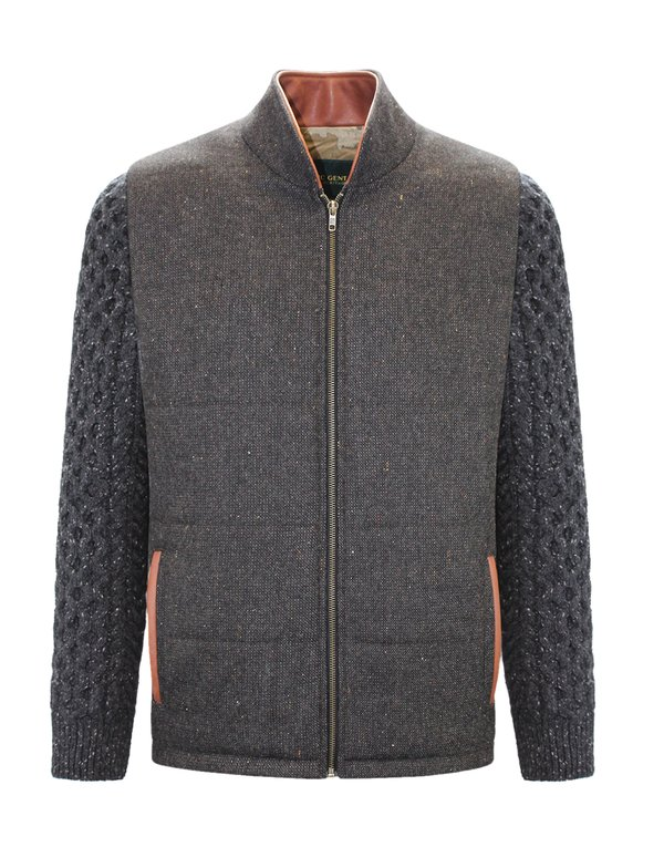 Brown Shackleton Jacket with Charcoal Cable Knit Sleeve - Brown