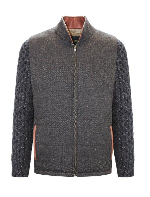 Veste Shackleton marron avec manches en tricot torsadé gris anthracite