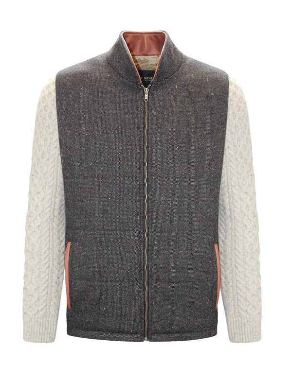 Brown Shackleton Jacket with Natural Cable Knit Sleeve - Brown