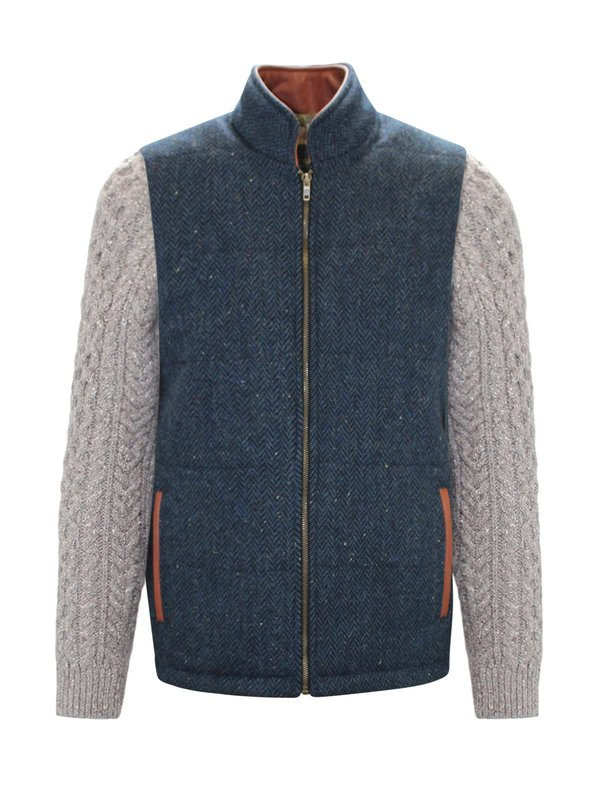 Blue Herringbone Shackleton Jacket with Rocky Road Cable Knit Sleeve - Blue