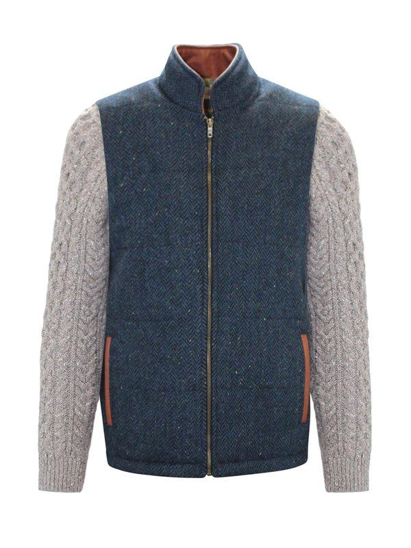 Veste Shackleton bleue à chevrons avec manches en tricot câblé Rocky Road
