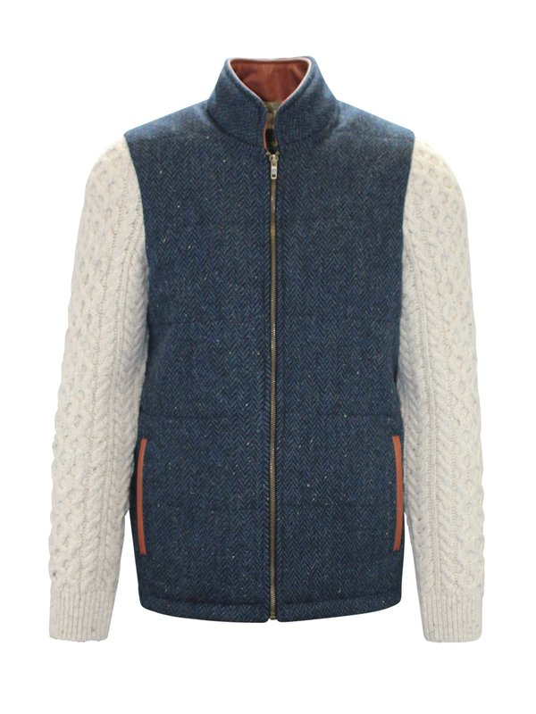 Blue Herringbone Shackleton Jacket with Natural Cable Knit Sleeve