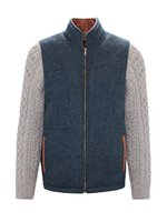 Blue Herringbone Shackleton Jacket with Rocky Road Cable Knit Sleeve
