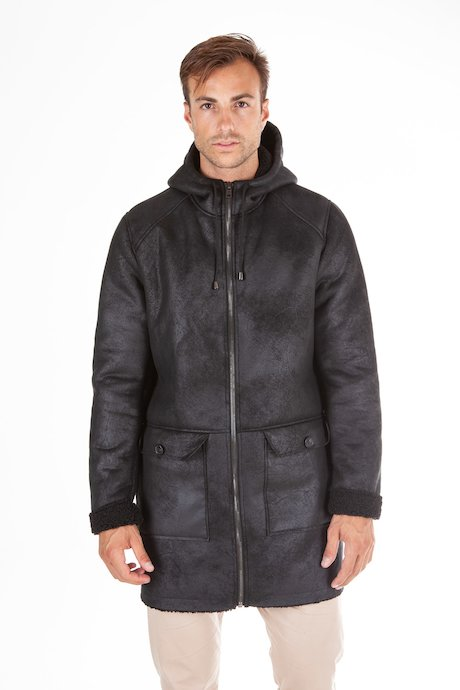 Shearling effect coat