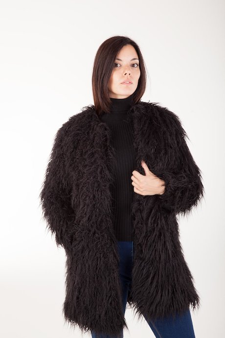 Faux Fur Coat Round Collar