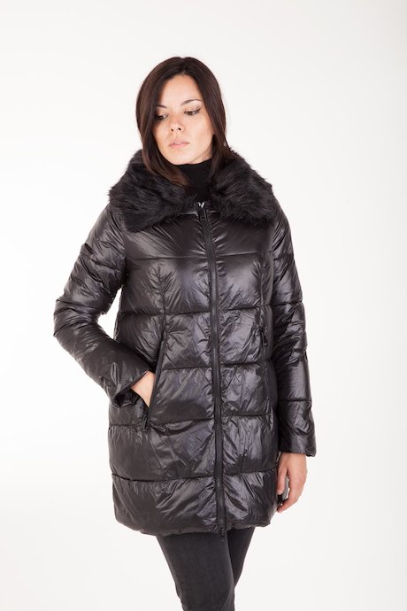 Oversized Down Jacket Faux Fur Inserts