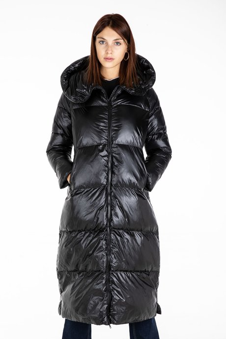 Long Down Jacket in Nylon Shiny Synthetic Padding